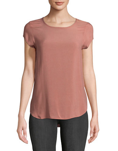 Vero Moda Round Neck Short Sleeve Blouse-PINK-Large
