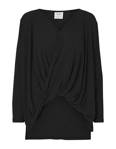 Vero Moda Honiebay Wrap Top-BLACK-X-Small