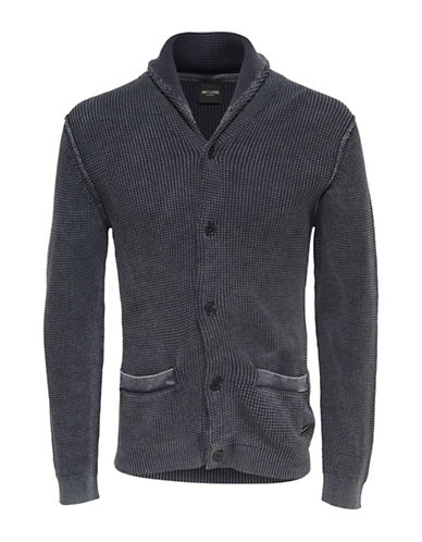 Only And Sons Washed Knitted Cotton Cardigan-DARK BLUE-Medium