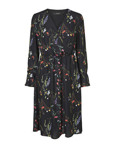Vero Moda Florence Bell Long Dress-BLACK MULTI-X-Large