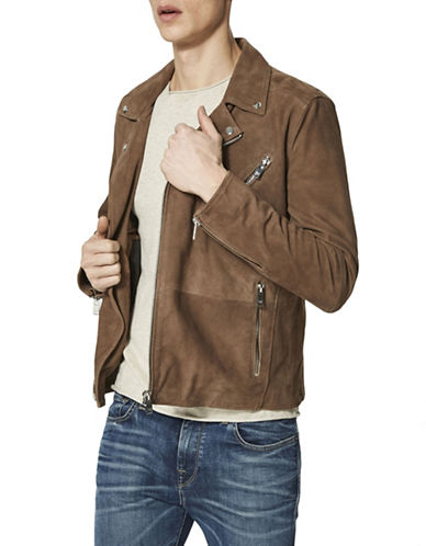 Selected Homme Suede Zip-Front Biker Jacket-BROWN-X-Large 89853281_BROWN_X-Large