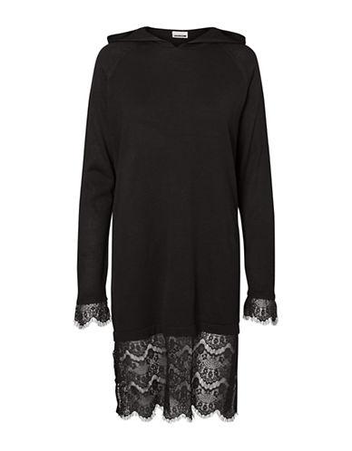 Noisy May Lang Knit Hooded Dress-BLACK-X-Small