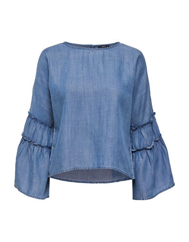Only Sharon Bell-Sleeve Denim Top-MEDIUM BLUE-38