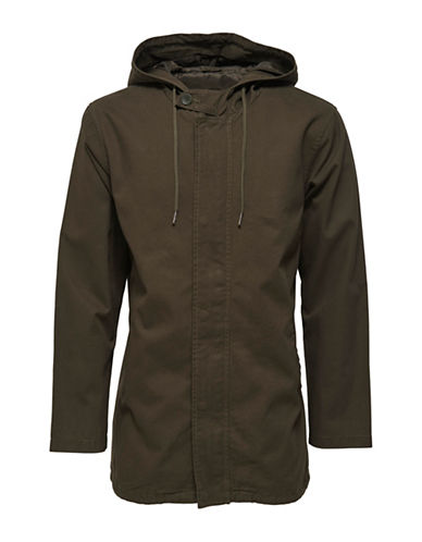 Only And Sons Solid Button-Front Cotton Parka-GREEN-XX-Large