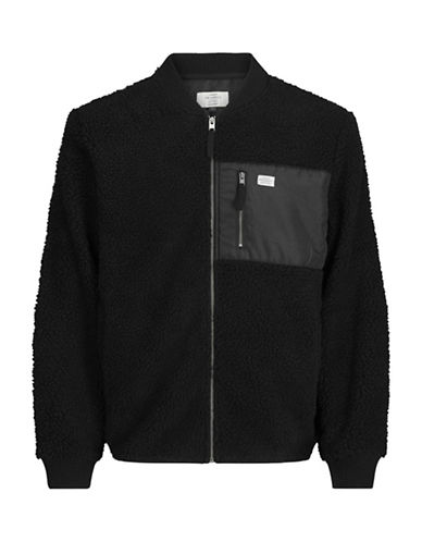 Jack & Jones Zip Long Sleeve Sweatshirt-BLACK-X-Large