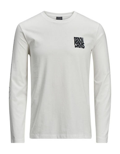 Jack & Jones Heathered Cotton Long-Sleeve Tee-WHITE-X-Large