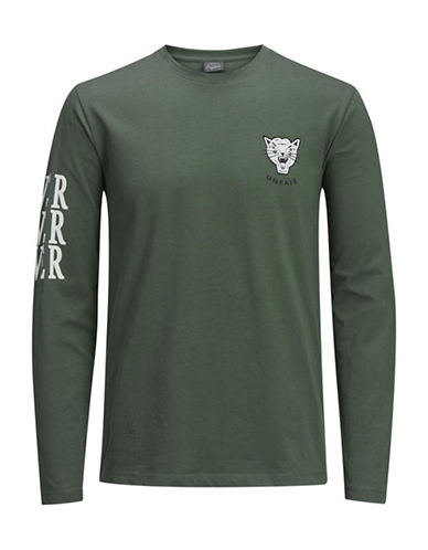 Jack & Jones Heathered Cotton Long-Sleeve Tee-GREEN-Large