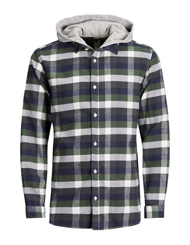 Jack & Jones Plaid Cotton Hooded Sport Shirt-GREEN-X-Large
