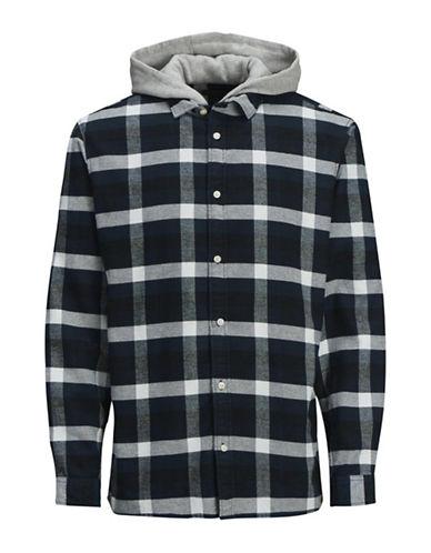 Jack & Jones Plaid Cotton Hooded Sport Shirt-BLUE-Large