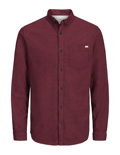 Jack & Jones Long Sleeve Cotton Sportshirt-RED-Small