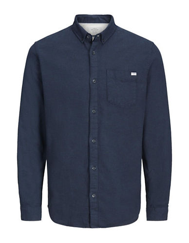 Jack & Jones Long Sleeve Cotton Sportshirt-BLUE-Small