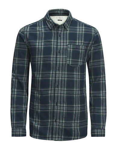 Jack & Jones Plaid Flannel Cotton Sport Shirt-GREEN-Medium