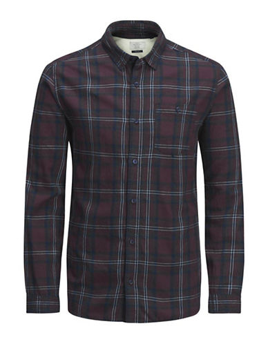 Jack & Jones Plaid Flannel Cotton Sport Shirt-RED-Large