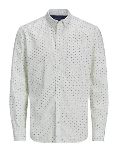 Jack & Jones Diamond Print Cotton Sport Shirt-WHITE-Small