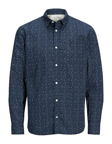 Jack & Jones Diamond Print Cotton Sport Shirt-NAVY-Small