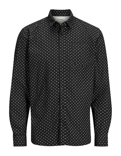 Jack & Jones Diamond Print Cotton Sport Shirt-BLACK-Large