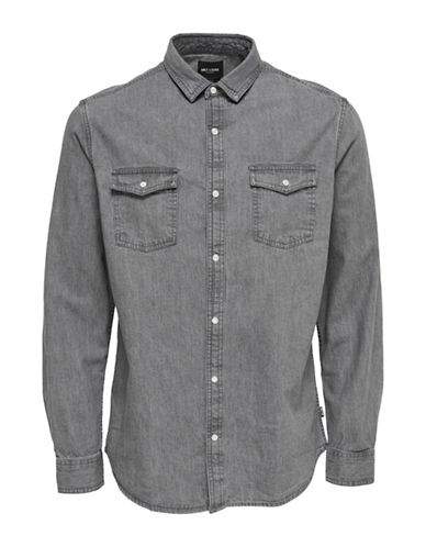 Only And Sons Denim Sport Shirt-MEDIUM GREY-Small