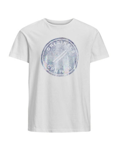 Jack & Jones Printed Cotton Tee-WHITE-Small
