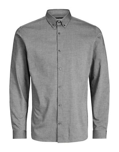 Jack And Jones Premium Graphic Cotton Sport Shirt-GREY-XX-Large