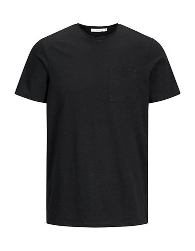 Jack And Jones Premium Crew Neck Cotton Tee-BLACK-Small