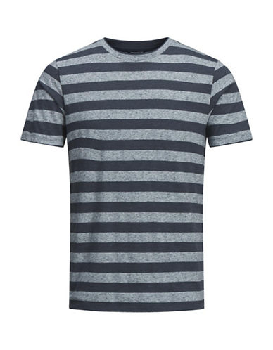Jack And Jones Premium Short-Sleeve Striped Tee-NAVY-XX-Large