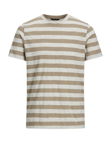 Jack And Jones Premium Short-Sleeve Striped Tee-BEIGE-Large