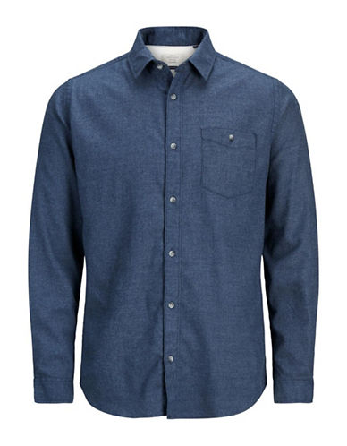 Jack & Jones Flannel Cotton Sport Shirt-BLUE-Medium