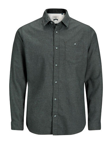 Jack & Jones Flannel Cotton Sport Shirt-GREEN-Medium