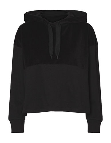 Noisy May Velvet-Trim Crop Hoodie-BLACK-X-Small