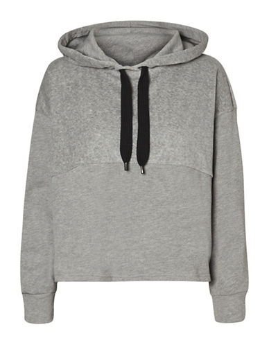 Noisy May Velvet-Trim Crop Hoodie-GREY-Small