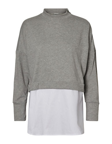 Noisy May Wyatt Two-in-One Sweatshirt-LIGHT GREY-Small