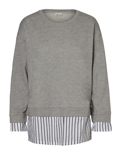 Noisy May Wyatt Layered Sweatshirt-LIGHT GREY-Large