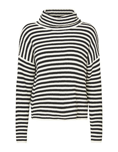 Noisy May Asymmetrical Striped Sweater-BLACK-Medium