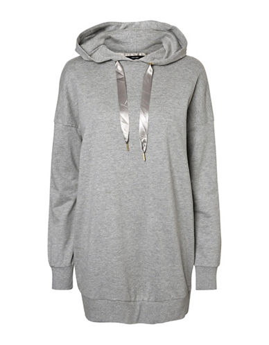 Vero Moda Serena Long Hooded Sweater-GREY-Medium