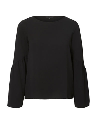 Vero Moda Round Neck Flare-Sleeve Top-BLACK-X-Large