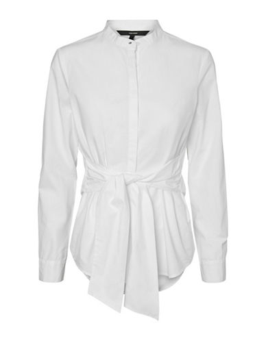 Vero Moda Self-Tie Cotton Button-Down Shirt-WHITE-X-Large