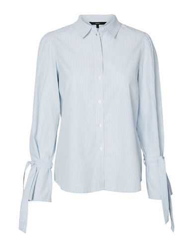 Vero Moda Striped Cotton Button-Down Shirt-WHITE-Large
