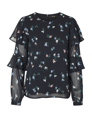 Vero Moda Floral Flare-Sleeve Top-BLUE-Large