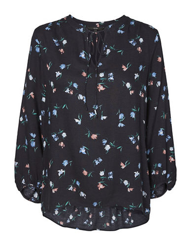 Vero Moda Floral Three-Quarter Top-NAVY-X-Small