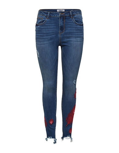 Only Embroidered and Distressed Jeans-BLUE-30