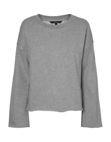 Vero Moda Bida Flare Sleeve Cotton Sweatshirt-GREY-Small