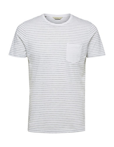 Selected Homme Striped Cotton Tee-WHITE-Medium