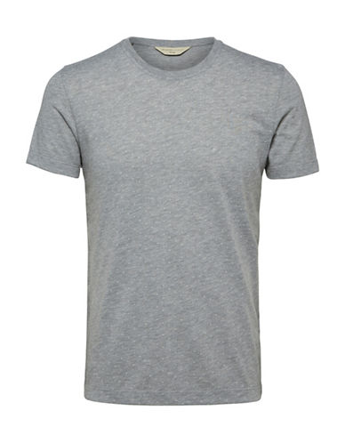 Selected Homme Crew Neck Cotton Tee-GREY-Small 89694529_GREY_Small