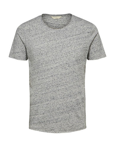 Selected Homme Crew Neck Cotton Tee-GREY-Small 89694537_GREY_Small