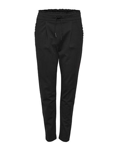 Only Frilled Stretch Dress Pants-BLACK-X-Small