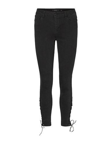 Vero Moda Seven Slim Laced Ankle Jeans-BLACK-0