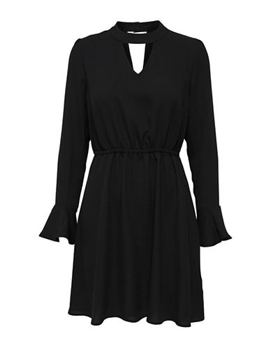 Only Ruffled Choker Dress-BLACK-36