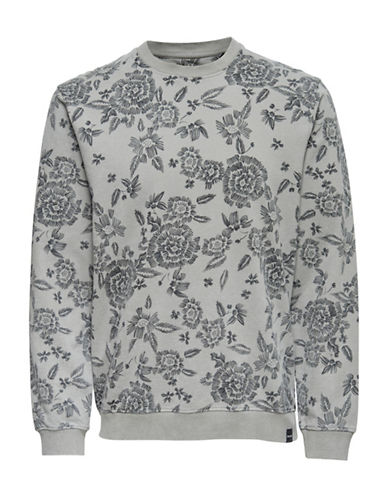 Only And Sons Floral-Print Cotton Sweatshirt-GREY-Large 90026900_GREY_Large