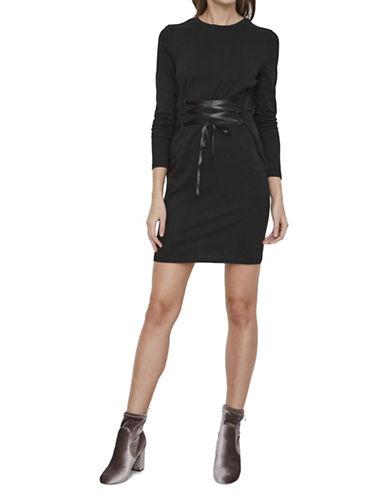 Noisy May Corset Ribbon Front Dress-BLACK-X-Small