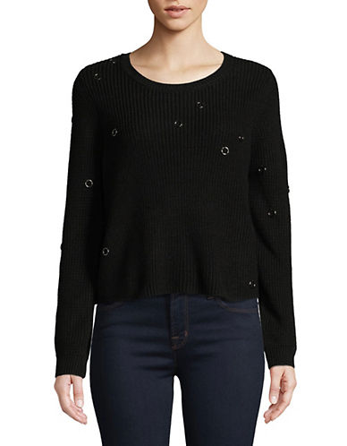 Only Cotton-Blend Textured Pullover-BLACK-Large 89977779_BLACK_Large